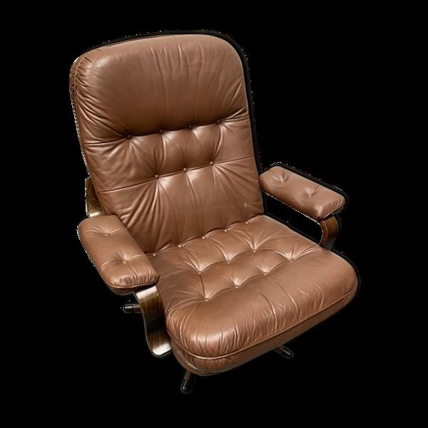 Selency Fauteuil pivotant en cuir brun danois