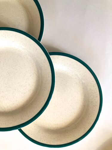 Lot assiettes vintage en grès moucheté bordure verte