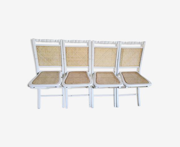 Suite de 4 chaises pliantes bois et cannage vintage années 60/70