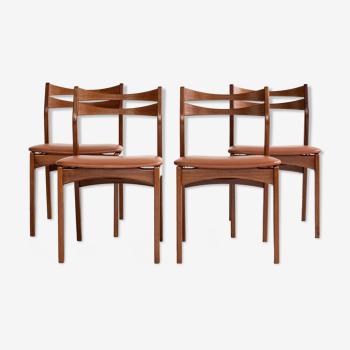 Ensemble danois du milieu du siècle de 4 chaises
