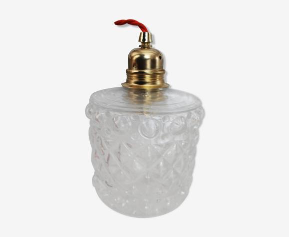 Lampe baladeuse globe en verre moulé