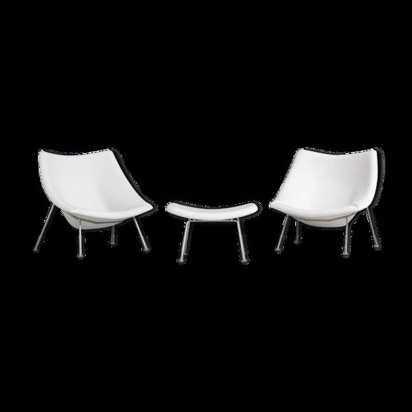 Paire de fauteuils et pouf Oyster F159 Artifort Pierre Paulin
