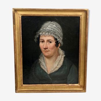 Portrait , femme au bonnet de dentelles
