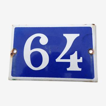 Plaque émaillée ancienne No 64