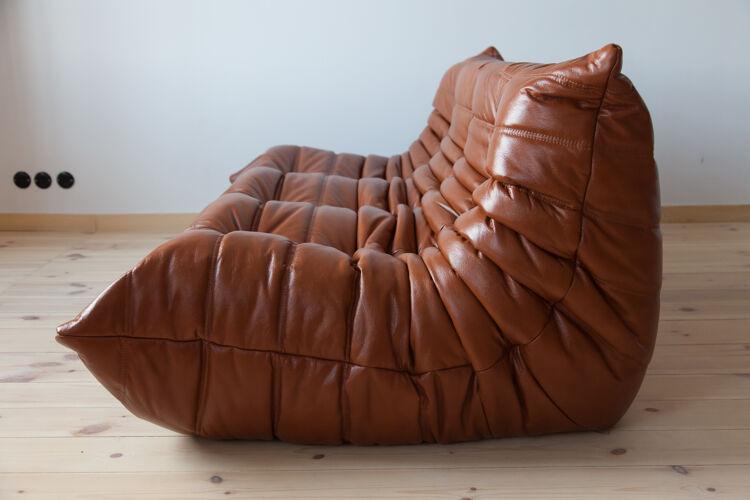 Set Togo en cuir brun par Michel Ducaroy pour Ligne Roset