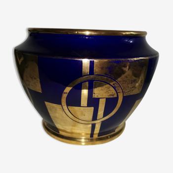 Cache pot art déco bleu cobalt doré à l'or fin