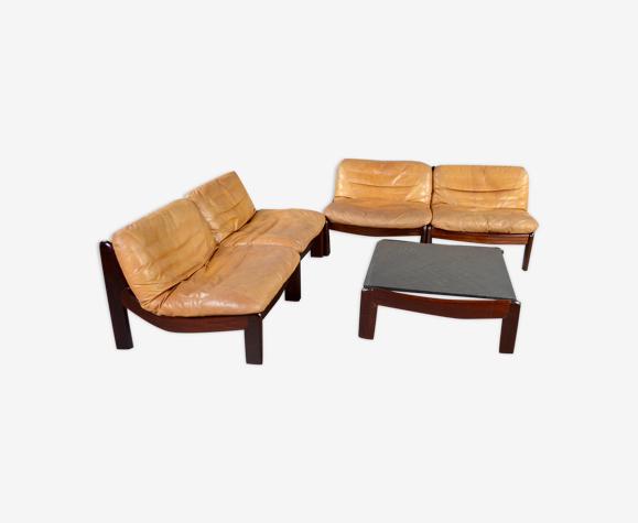 vintage design cognac leather and palisander modular seating group