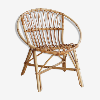Adult-sized rattan shell chair