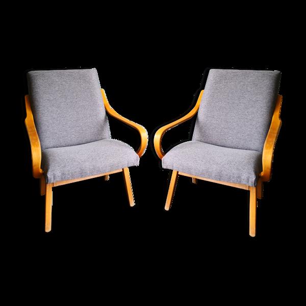 Paire de fauteuils tchèques en bois années 50/60