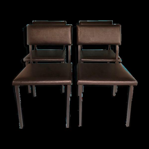 Selency Ensemble de 4 chaises en cuir vintage dutch design skai conçues par gijs van der sluis