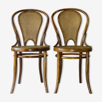 Lot de 2 chaises bistrot N°18 Viennoises à dossier canné , par Rabenau-Saxe- 1880 -