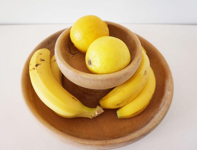 Corbeille à fruit en bois massif brut
