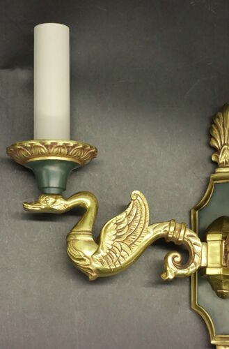 Paire d'appliques aux cygnes style Empire - Lucien Gau, Paris