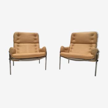 Set de 2 fauteuils vintage SZ09 nagoya en cuir par Martin Visser pour 't Spectrum