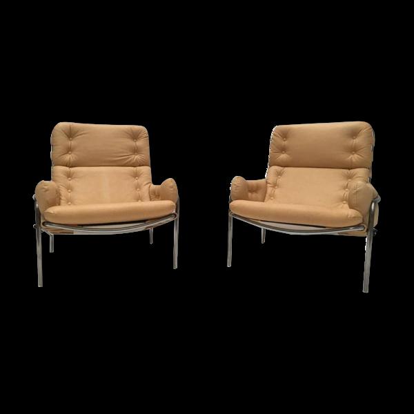 Selency Set de 2 fauteuils vintage SZ09 nagoya en cuir par Martin Visser pour 't Spectrum