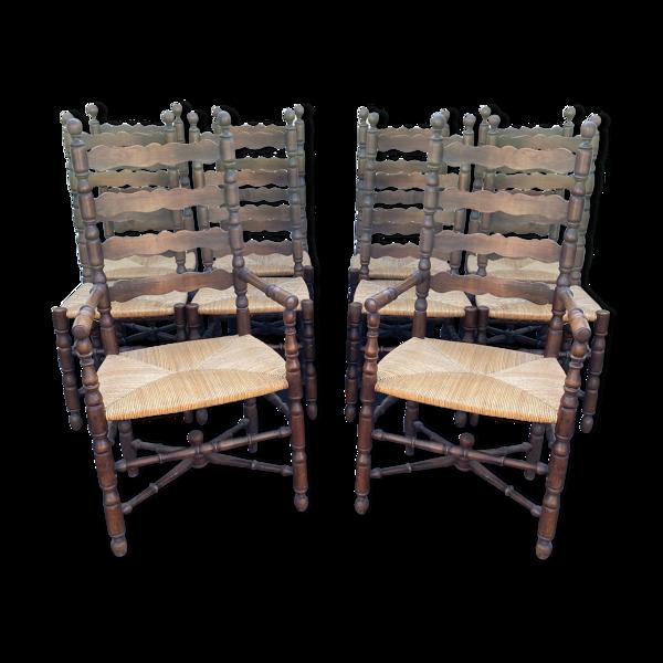 Selency Lot de 10 chaises anciennes