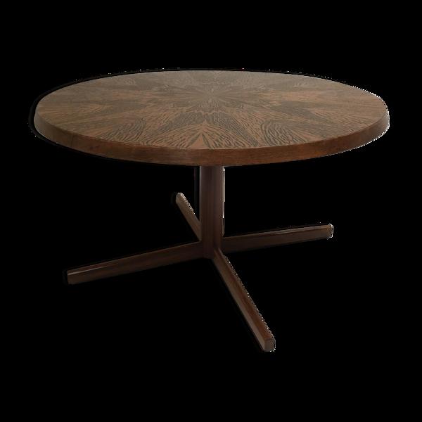 Selency Table basse brutaliste en palissandre avec motif de fleur en bronze gravé 1960s