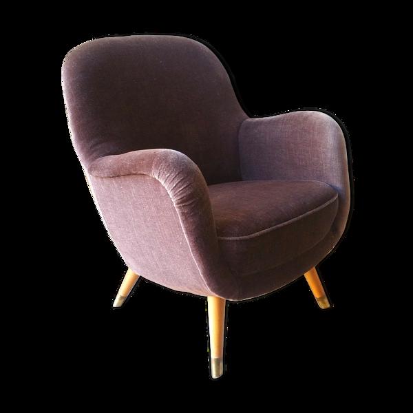 Fauteuil oeuf EGG des années 50-60 en velours marron