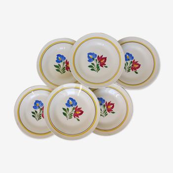 Lot de 6 assiettes à dessert vintage de Digoin Sarreguemines modèle Dunkerque en porcelaine