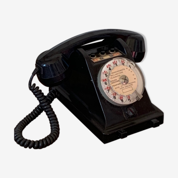 Téléphone à cadran boutons standard en bakélite noir ptt 1967