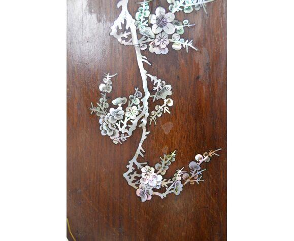 Paravent asiatique en bois sculpté et marqueterie de nacre, XIXe