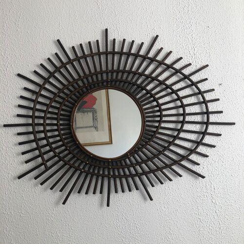 Miroir vintage 1960 soleil rotin ORTF - 80 x 67 cm