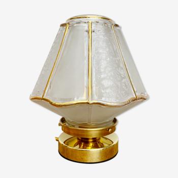 Lampe à poser globe vintage art déco blanc et doré