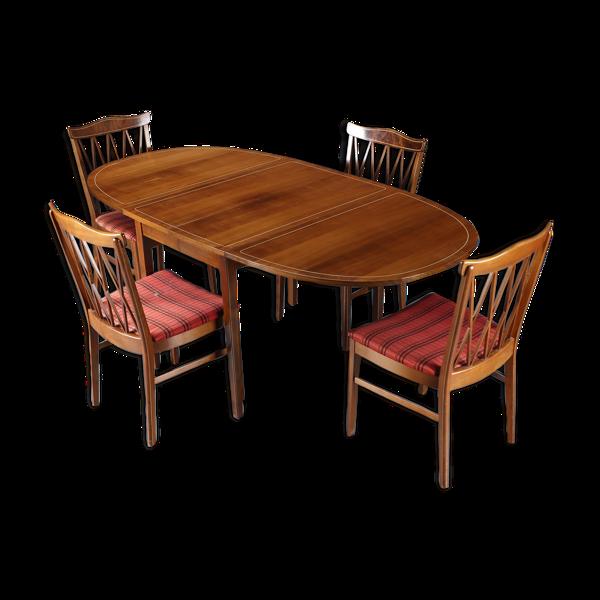 Selency Table à manger danoise en acajou et 4 chaises