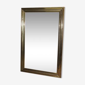 Miroir de bistrot en laiton fin XIX 98x151cm