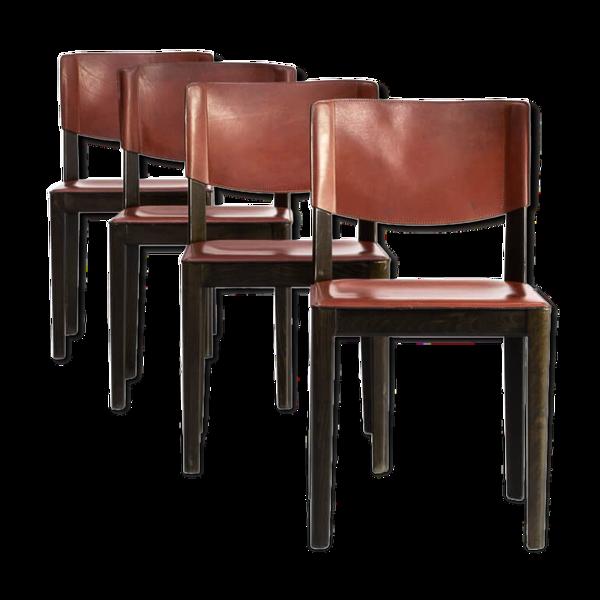 Lot de 4 chaises en cuir et chêne ébonisé pour Matteo Grassi des années 60