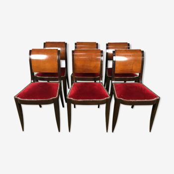 Suite de 6 chaises époque Art Déco velours rouge