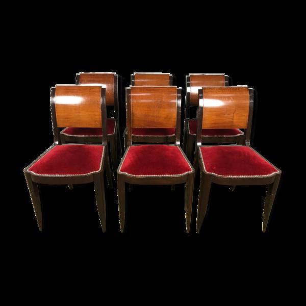 Selency Suite de 6 chaises époque Art Déco velours rouge