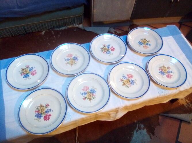 8 assiettes plates Dolly, Digoin Sarreguemines