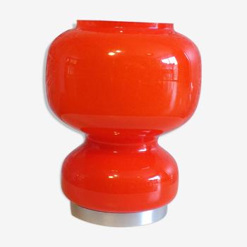Lampe à poser 1970 en opaline orange