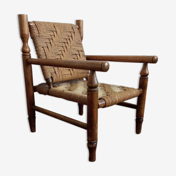 Wooden armchairs and rope 1950