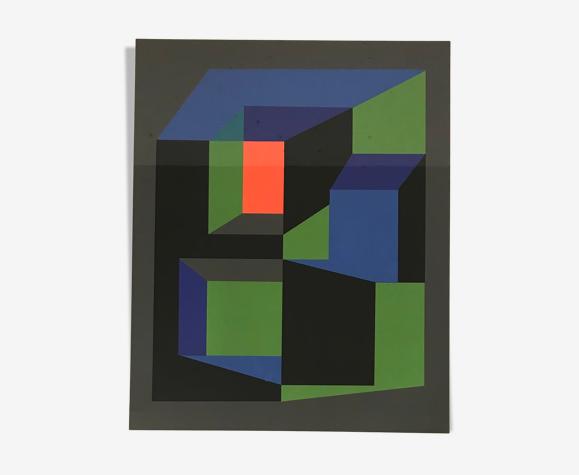 Lithographie Guy Vandenbranden 1972
