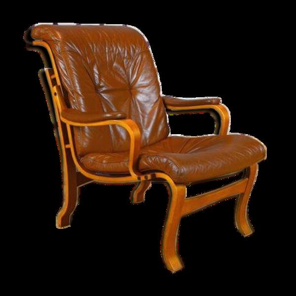 Fauteuil relax scandinave en bois blond & cuir vintage 1960
