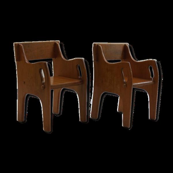Selency Paire de chaises en bois d'enfants des années 40 Cc41