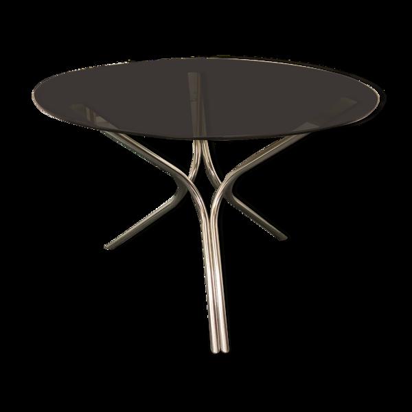Table ronde vintage 1970 pied chromé plateau  en verre fumé 70