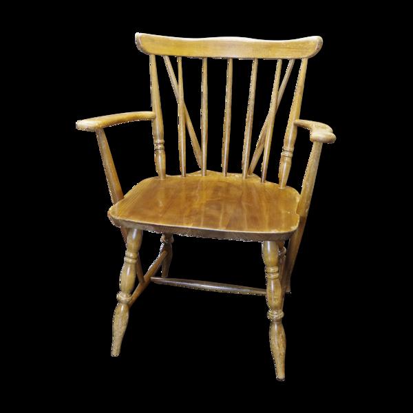 Chaise Windsor en bois vintage avec accoudoirs