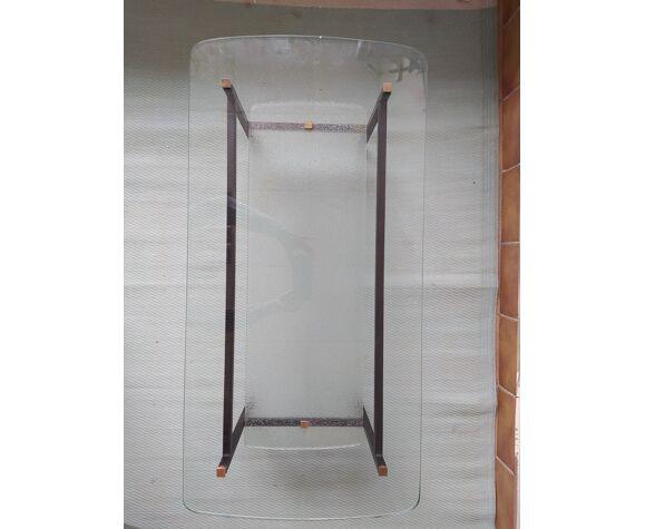 Table basse vintage en verre rectangulaire dans le gout de Jacques Hitier