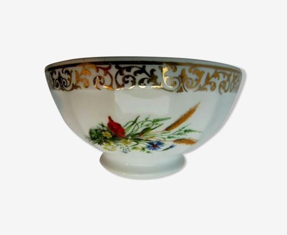 Bol vintage art déco blanc, Limoges, liseré doré et fleurs champêtres: david