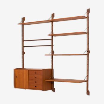 Bibliothèque en teck avec 6 étagères et une armoire de John Texmon pour Blindheim Møbelfabrikk