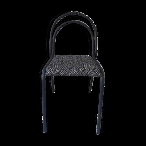 Chaise vintage indus à la structure tubulaire en métal gris ardoise assise tapissée