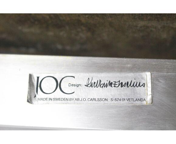 Fauteuils suédois en cuir et en aluminium du milieu du siècle par Karl Erik Ekselius pour Joc Vetlanda, set de 4
