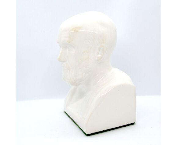 Buste en céramique d'Hippocrate Madaus Autriche années 1970