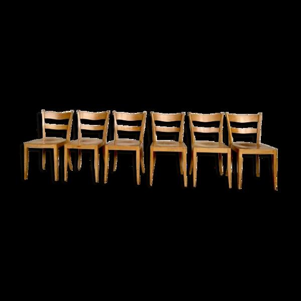 Serie de 6 chaises bistrot vintage en bois clair estampillee 1959