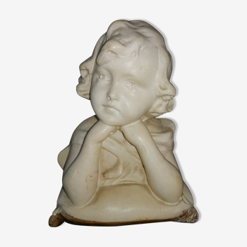 Sculpture buste fillette en plâtre