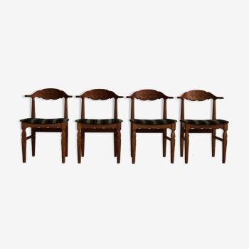 Ensemble de 4 chaises à manger par Henning Kjaernulf