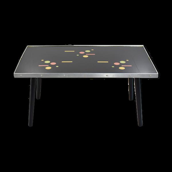 Table basse vintage en verre avec motifs géométriques, 1960